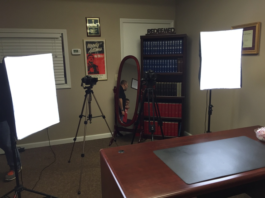 the set up w/ soft boxes